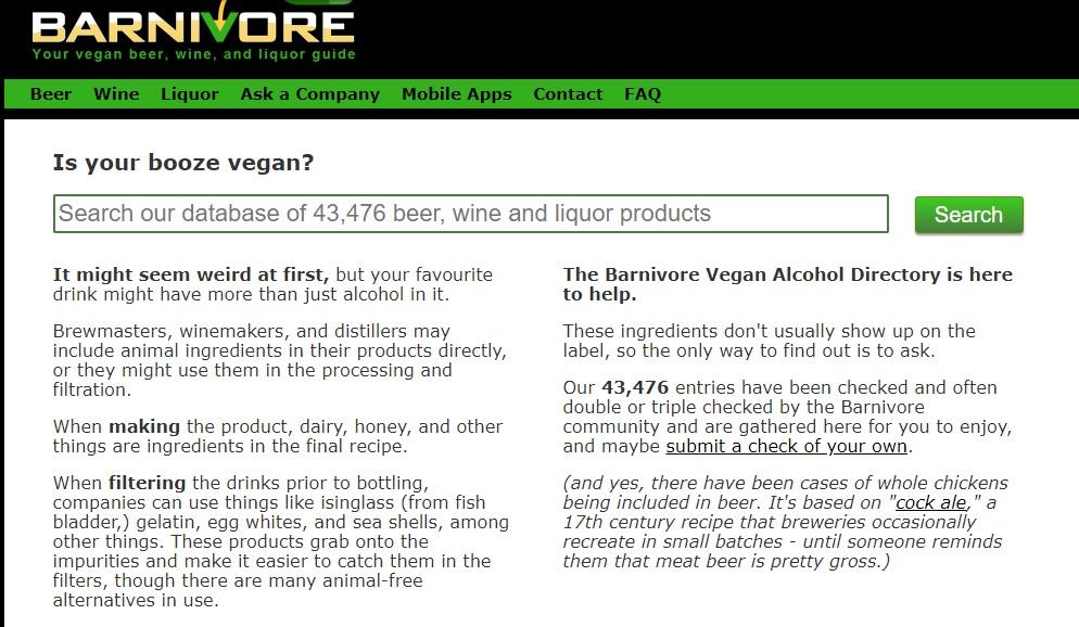 saber si una bebida es vegana